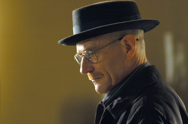"""This image released by AMC shows Walter White, played by Bryan Cranston, wearing a Bollman 1940â??s pork pie hat in a scene from the second season of """"Breaking Bad.""""  Cranston was nominated for a Golden Globe for best actor in a drama series for his role in the series on Thursday, Dec. 12, 2013.  The 71st annual Golden Globes will air on Sunday, Jan. 12. (AP Photo/AMC, Ursula Coyote)"""
